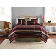 Mainstays Griffith Stripe 7-Piece Bedding Comforter Set, Decorative Pillows Included