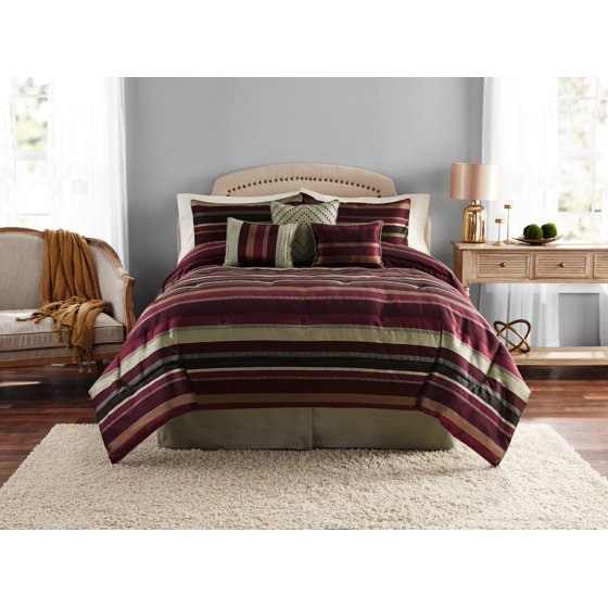 Mainstays Griffith Stripe 7-Piece Bedding Comforter Set w/Decorative Pillows (King)
