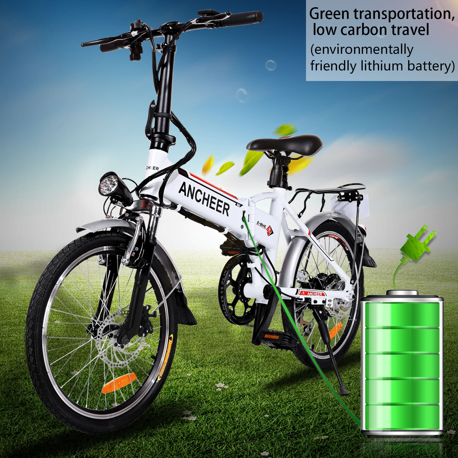 "Holiday Clearance! Ancheer Electric Bike Bicycle 18.7"" Folding Adjustable Mountain Bike Electric Bicycle with Smart Lithium Battery"