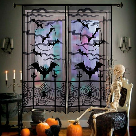 Halloween Movie Curtis (2pcs Black Halloween Lace Window Curtain, Spider Web Bats Door Curtain Panel Decor for Spooky Halloween Holiday Party Decoration, 40 x 84)