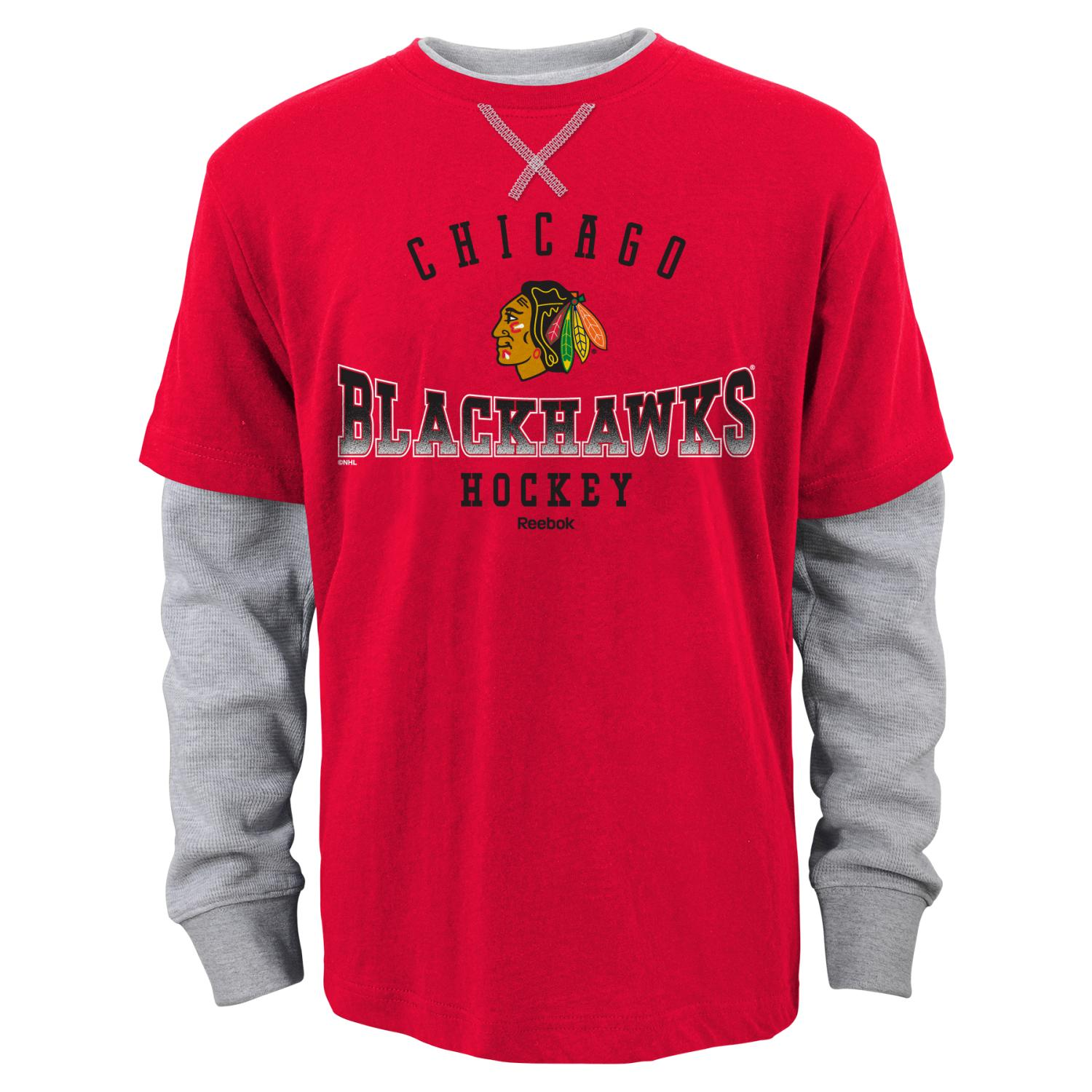 "Chicago Blackhawks Youth NHL Reebok ""Arched Fade"" L/S Faux Layer Thermal Shirt"