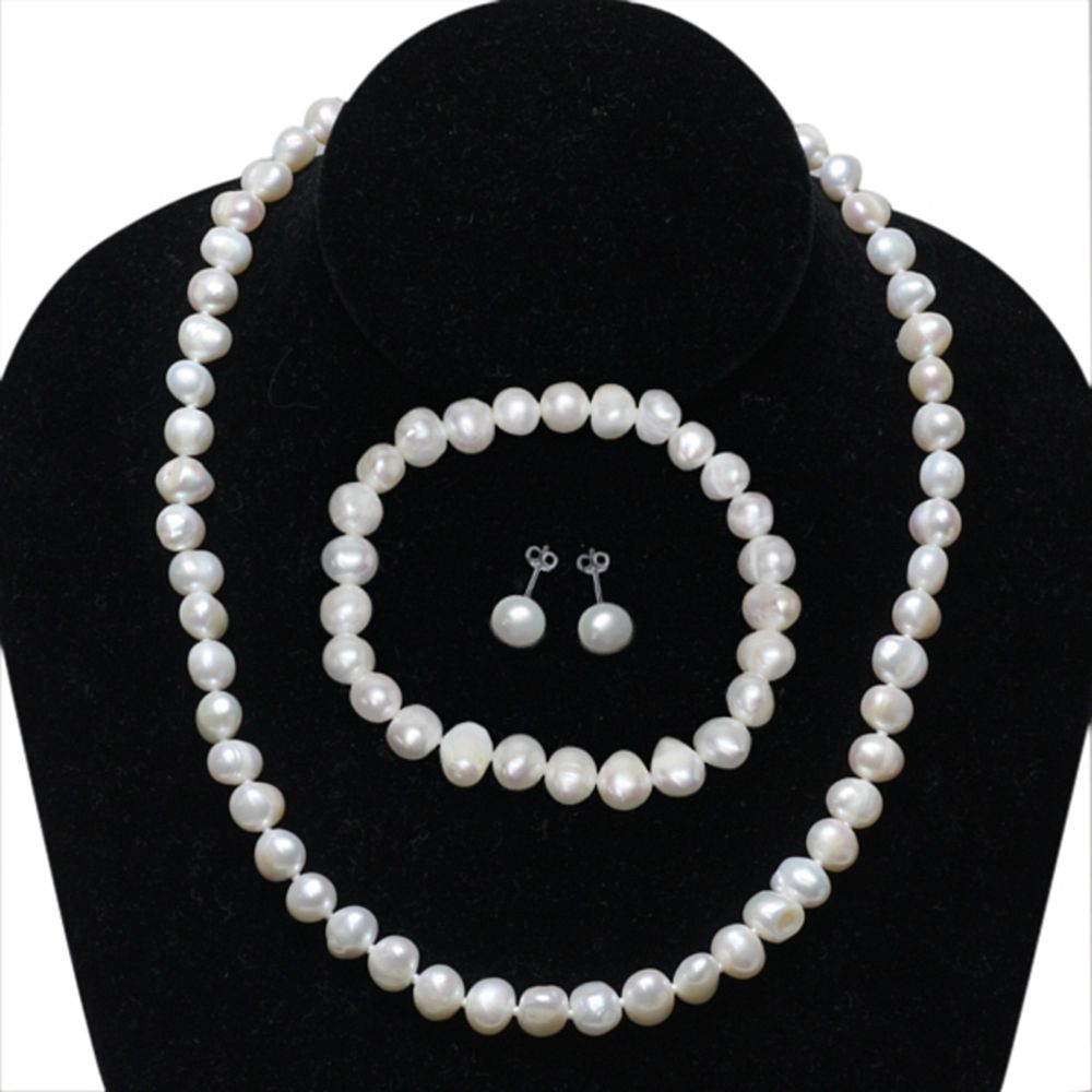 Cultured Freshwater White Pearl Sterling Silver Necklace Earrings Bracelet Set