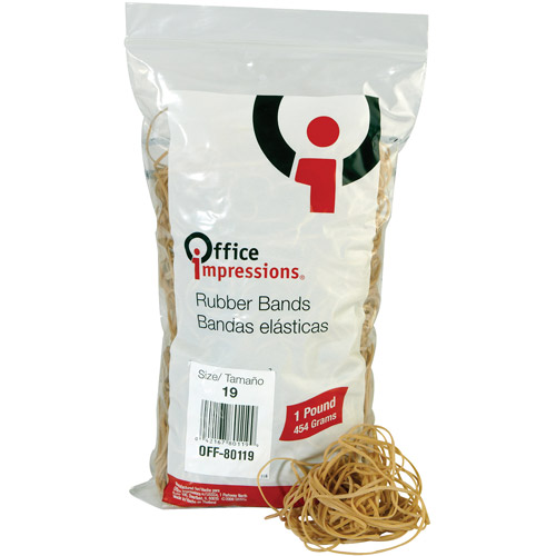 "Office Impressions Rubber Bands, Size 19, 3.5"" x 1/16"", 1240 Bands/1lb Pack"
