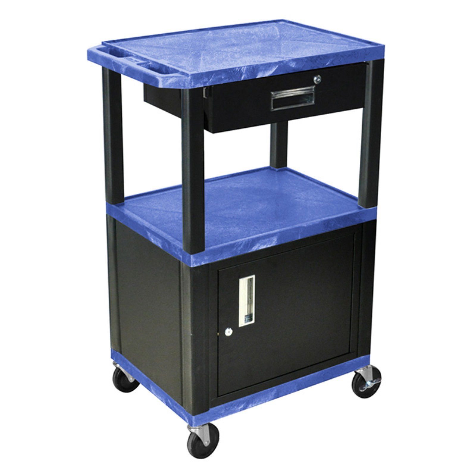 Luxor Open Shelf Cart with Locking Drawer and Cabinet