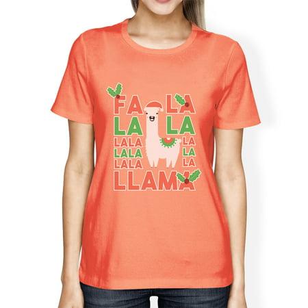 Falala Llama Womens Peach Crewneck Tee Xmas Present Tee For