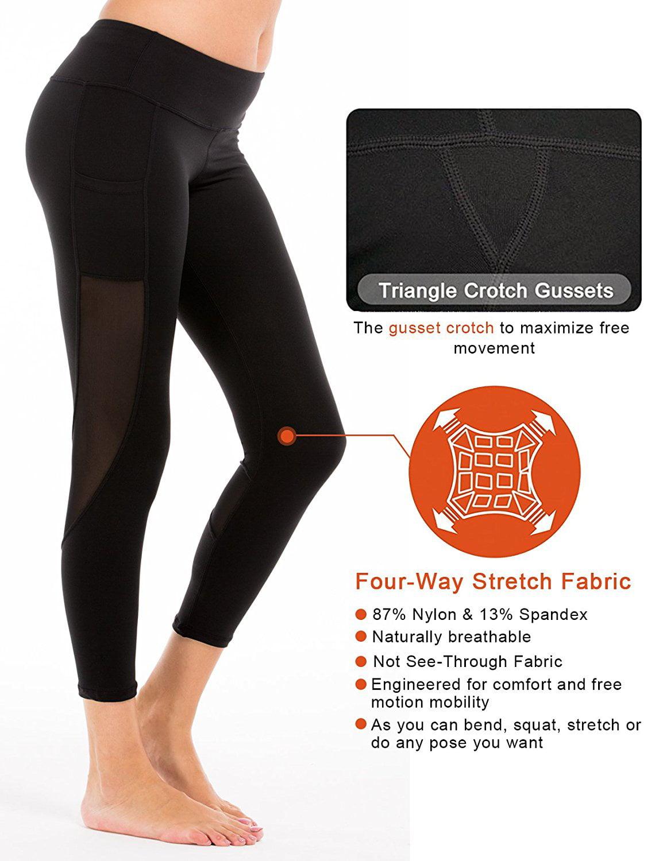 1845dc832373e4 Camellias Corsets - Camellias Women's Mesh Yoga Pants Workout Capri Leggings  with Side Pocket Black, SZ4008 - Walmart.com