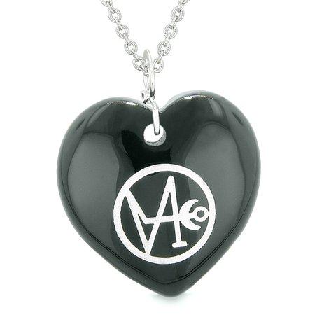 Archangel Gabriel Sigil Magic Planet Energy Puffy Heart Amulet Black Agate Pendant 18 inch (Promag Archangel M1a Precision Stock Black Polymer)