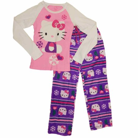 womens purple pink hello kitty fuzzy pajamas gray cat christmas sleep set