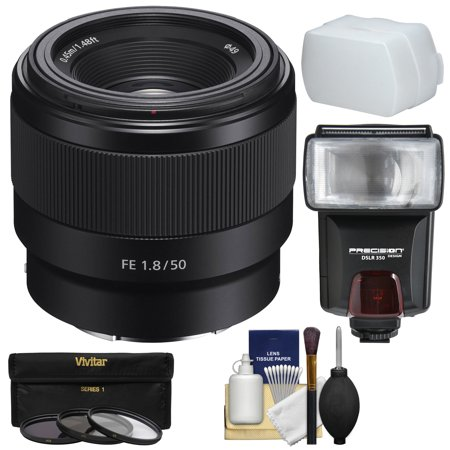 Sony Alpha E-Mount FE 50mm f/1.8 Lens with 3 Filters + Flash + Diffuser + Kit for A7, A7R, A7S Mark II