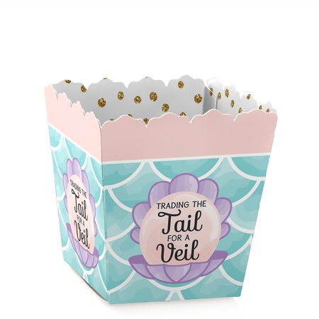 Trading The Tail For A Veil - Party Mini Favor Boxes - Mermaid Bridal Shower or Bachelorette Party Treat Candy Boxes -