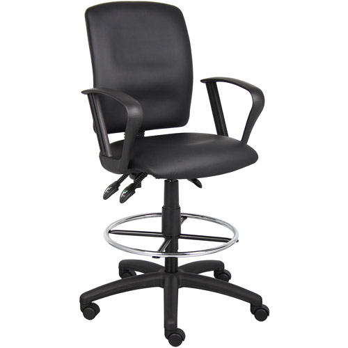 Boss Office Products Multi-Function Leatherplus Drafting Stool with Arms, Black