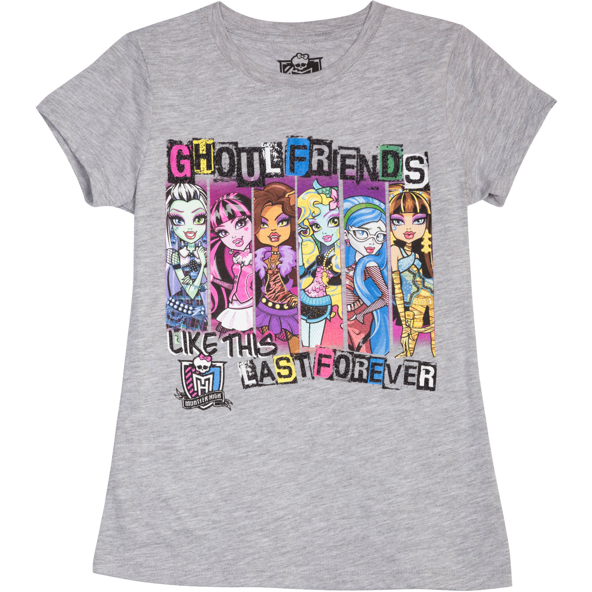 Monster High Girls' GF Never Dies Short Sleeve Crew Neck Graphic Tee