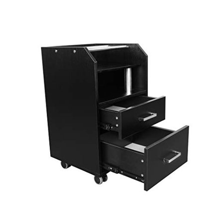 Glass Glow Pedicure Trolley BLACK Cart for Nail Salon Furniture & Equipment - Black Glow