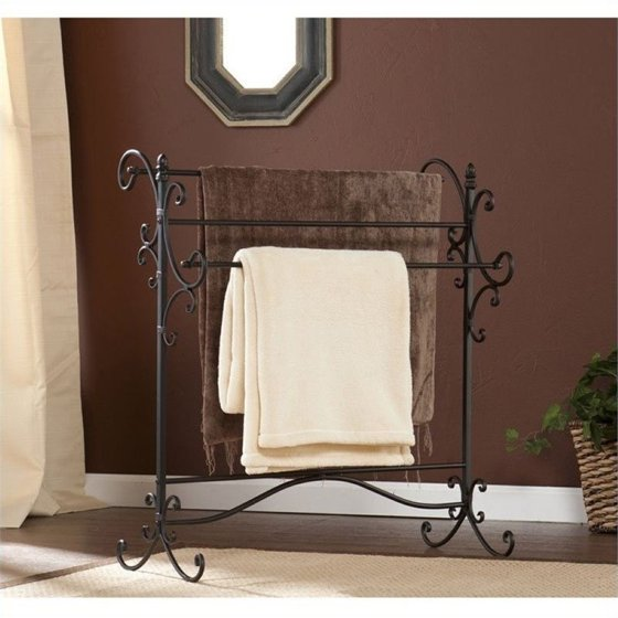 Pemberly Row Iron Blanket Rack In Black With Bronze
