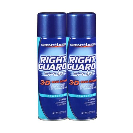 (2 Pack) Right Guard Sport Antiperspirant Deodorant Aerosol Spray, Powder Dry, 6 Ounce