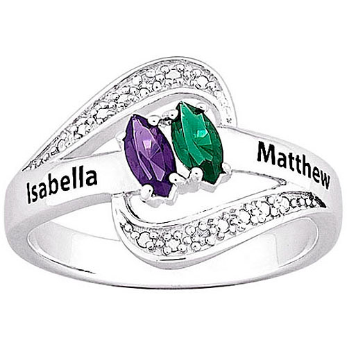 Personalized Women's Sterling Silver Diamond Accent Couple's Marquise Birthstone and Name Ring