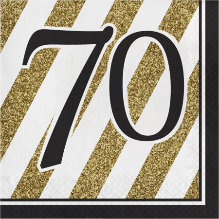 Creative Converting Black And Gold 70th Birthday Napkins, 16 ct