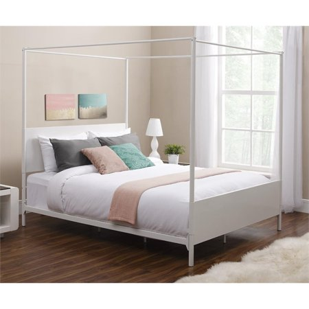 dhp canopy full metal bed in white. Black Bedroom Furniture Sets. Home Design Ideas