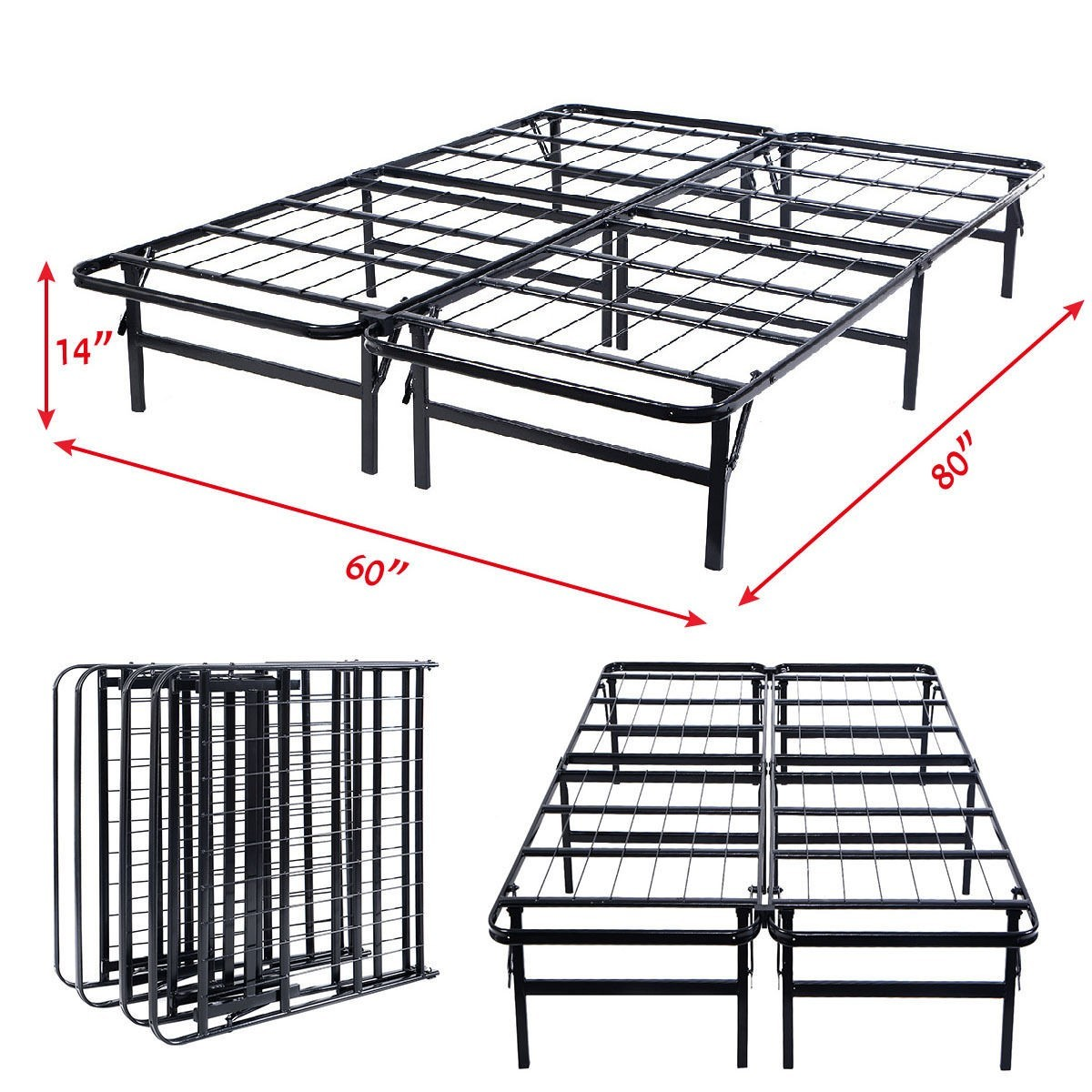 Metal Bed Frame Platform Mattress Foundation Queen Size