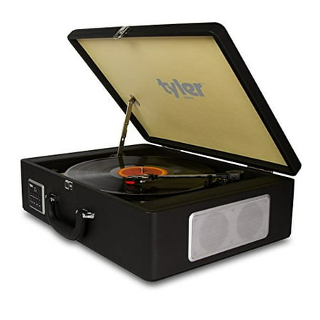 Tyler Bluetooth Briefcase Vinyl Record Player Classic Turntable Stereo System with Built-in Speakers, MP3 Player and USB Recording, Bluetooth, Headphone & Aux Input, RCA Line-Out, TTT601-BK,