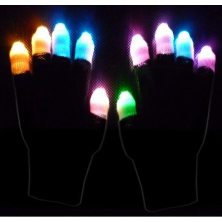 1 X LED Black Gloves Multicolor (Finger Light), By Krave Jerky](Finger Light Gloves)