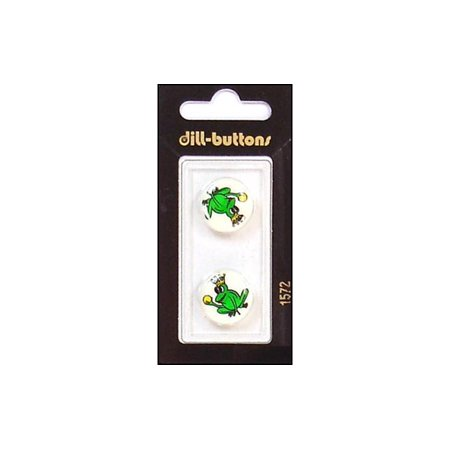 Dill Buttons 18mm 2pc Shank Green Frog Prince