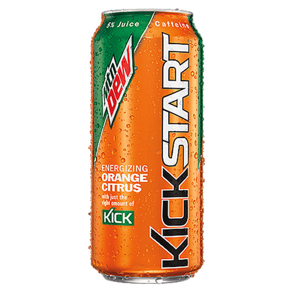 Mountain Dew Kickstart Orange 16 Oz Cans Pack of 12