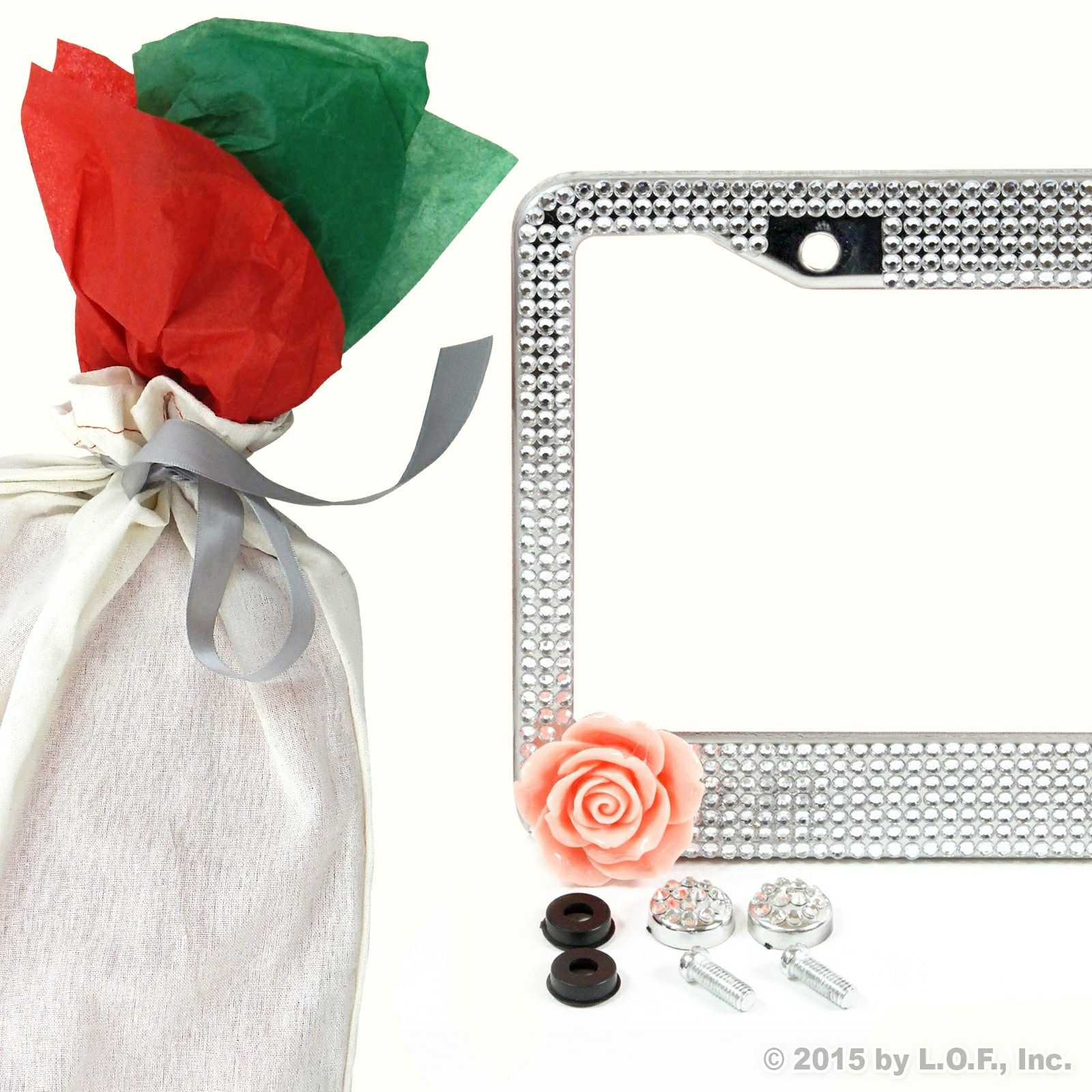 Bling Clear Flower Rhinestone Crystal Sparkle License Plate Frame Car Gift Bag
