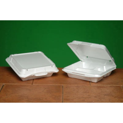 Foam Hinged Carryout Container, Vented, 3-comp, 9-1/4x9-1/4x3, White, 100/bag...