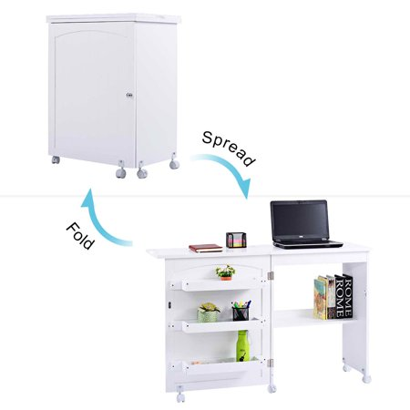 Costway Folding Swing Craft Table Shelves Storage Cabinet Home W/ Wheels - image 4 of 10