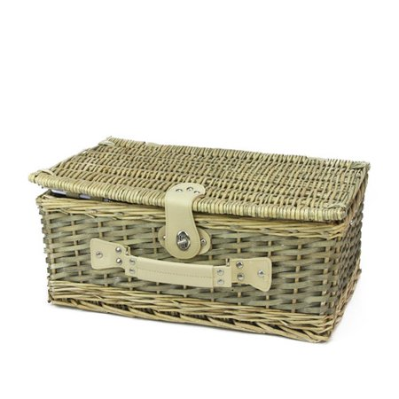 4 Person Hand Woven Scripted Graphical Warm Gray Natural Willow Picnic Basket Set With Accessories