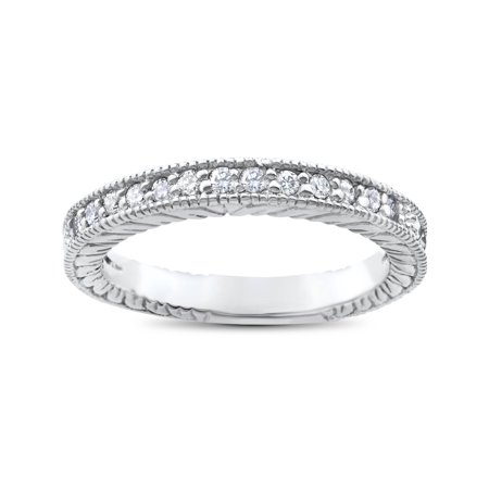 1/5ct Heirloom Diamond Vintage Wedding Ring 14K White Gold Womens Antique Band ()