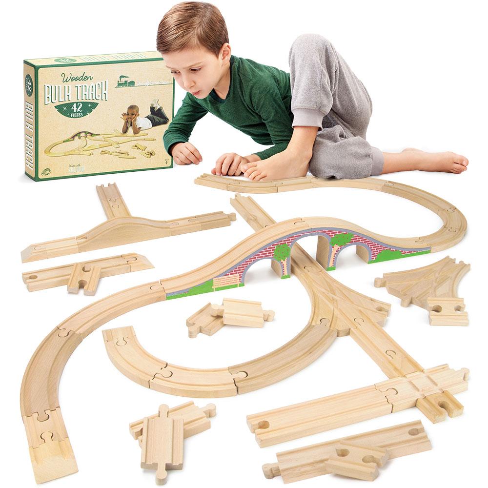 Wooden Train Track Lot 52-Piece Railway Set Thomas The Train Brio Accessories