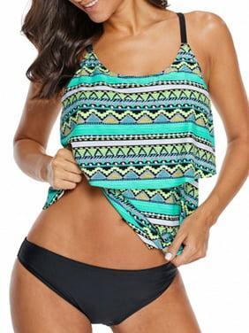 a695a38c9f Product Image Women's Blouson Printed Strappy Push up Swim Tankini Top No  Bottom
