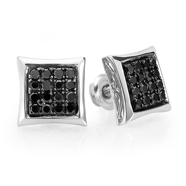 0.75 Carat (ctw) Black Round Diamond Micro Pave Setting Kite Shape Stud Earrings 3/4 CT