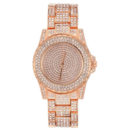 14k Yellow Gold Diamond Watch (TekDeals Luxury Mens 14k Rose Gold Iced out Simulated Lab Diamond Hip Hop Rapper Watch )