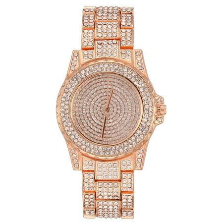 TekDeals Luxury Mens 14k Rose Gold Iced out Simulated Lab Diamond Hip Hop Rapper Watch 14k Diamond Wrist Watch