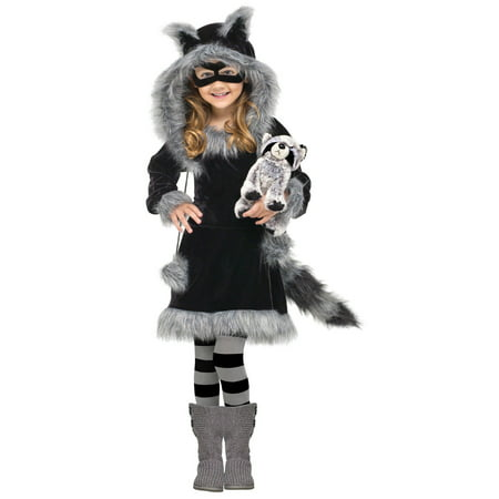 Fun World Halloween Toddler Sweet Raccoon 5pc Girl Costume, Black Grey