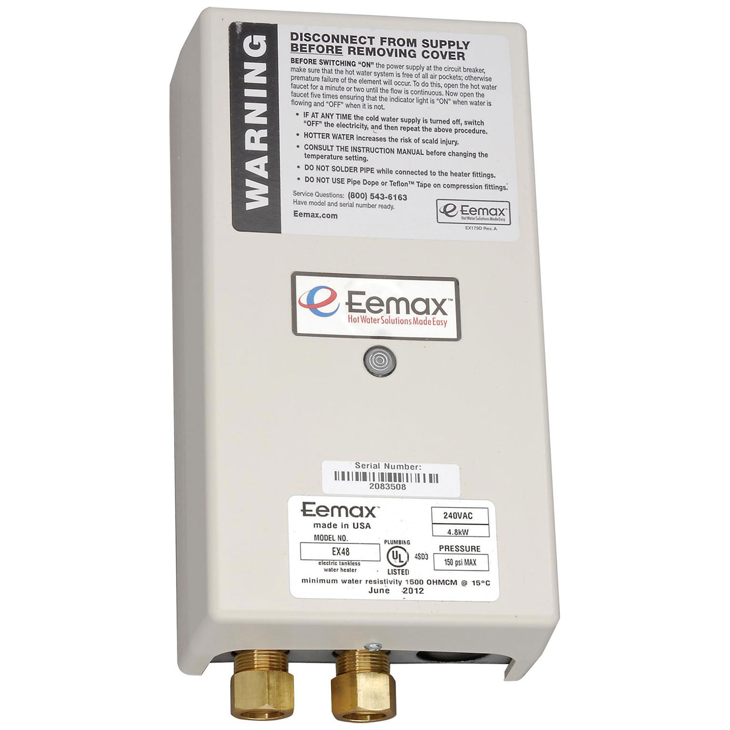 eemax electric tankless water heater, flo-controlled point of use