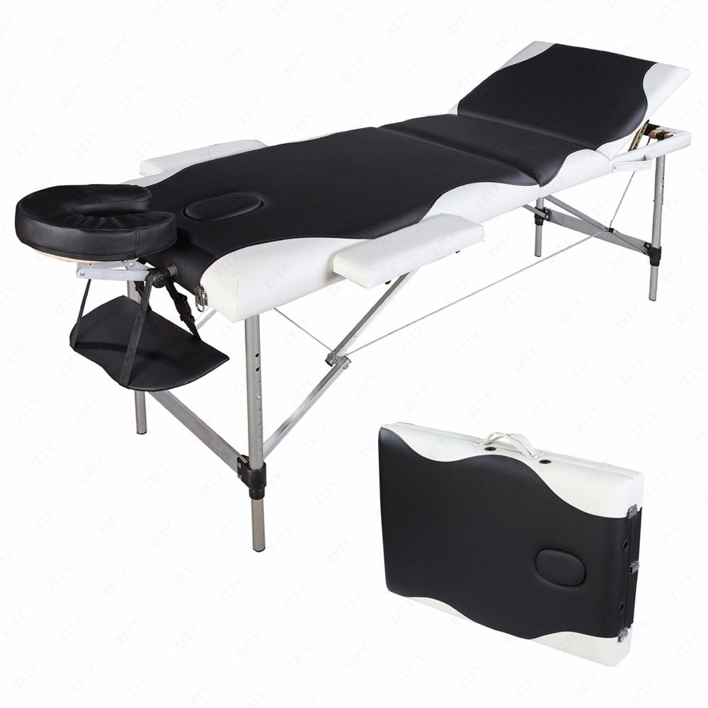"84""L Folding Massage Table Aluminum Frame 3 Fold Portable Massage Bed With Carrying Bag 3 Fold,Black & White"