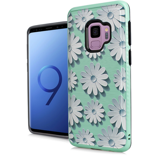 Mundaze White Daisy Teal Brushed Armor Anti-Shock Case For Samsung Galaxy S9 Phone