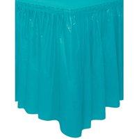 Plastic Table Skirt, 14 ft, Teal, 1ct