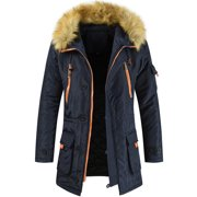 Men's Casual Plus Size Faux Fur Parka Hoodies Warm Winter Coats Ouertwear