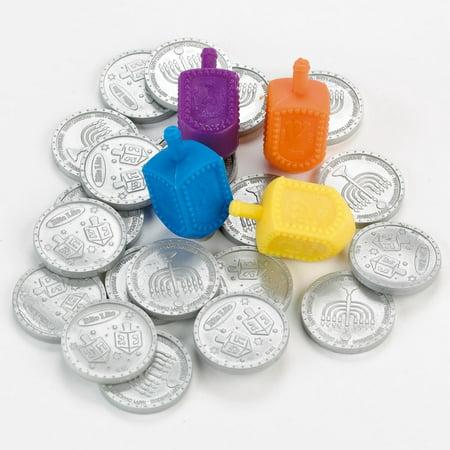 Plastic Dreidel - Hanukkah Dreidel Game Set with Coins