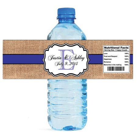 100 Burlap Purple Monogram Wedding Anniversary Engagement Party Water Bottle Labels 8