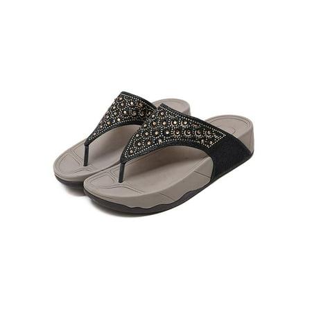 LUXUR Ladies Womens Flip Flops Beach Summer Toe Post Sandal Surf Girls Platform Shoe Outdoor/Indoor Slippers
