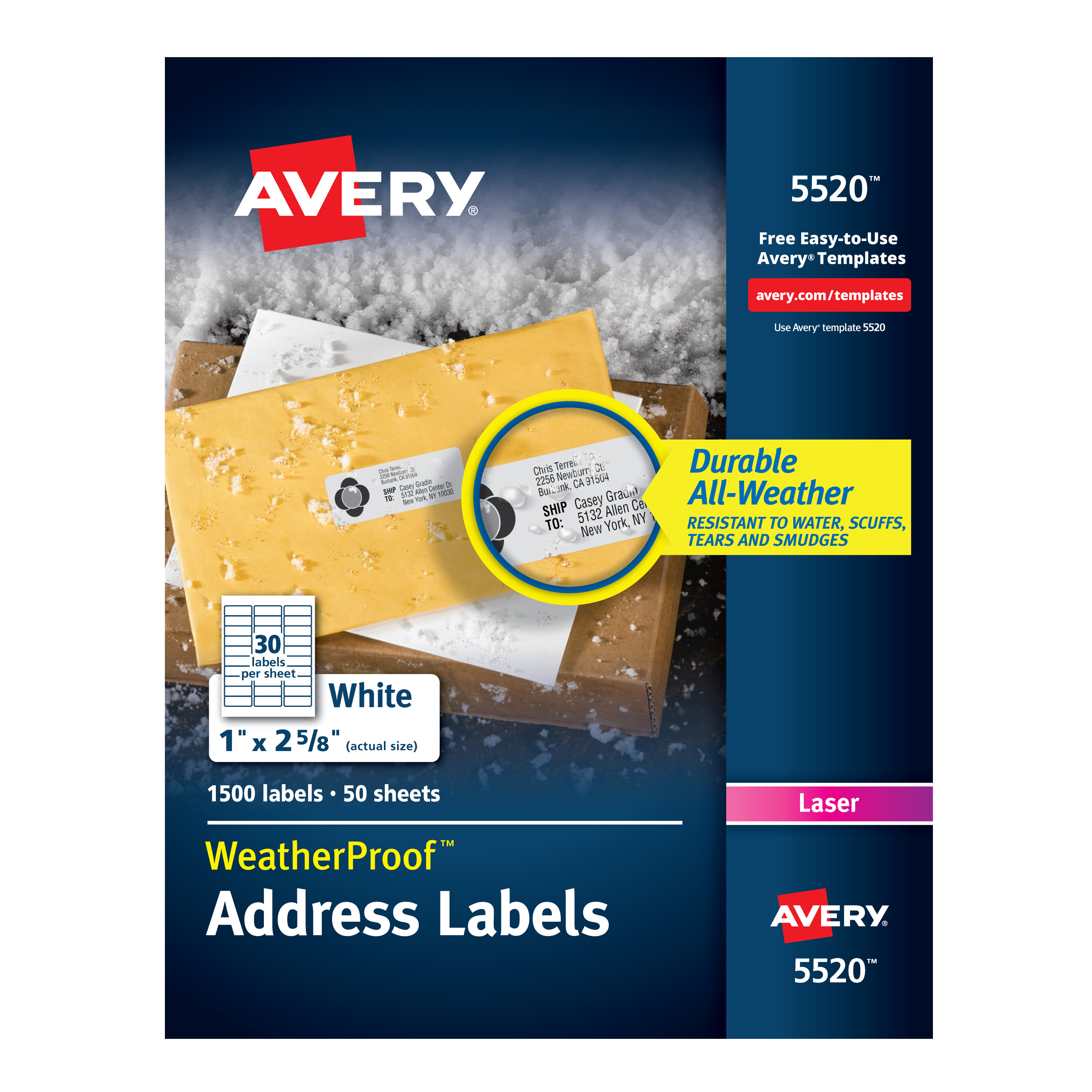 Avery WeatherProof Mailing Labels with TrueBlock Technology for Laser Printers 1 x 2-5/8, Box of 1,500 (5520)