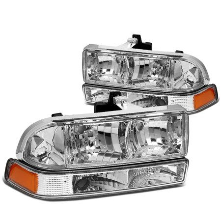 For 1998 to 2004 Chevy S10 / Blazer GMT 325 / 330 Chrome Housing Headlight+Amber Corner Lamps 99 00 01 02 03 Left+Right 01 02 Chevy Express Van