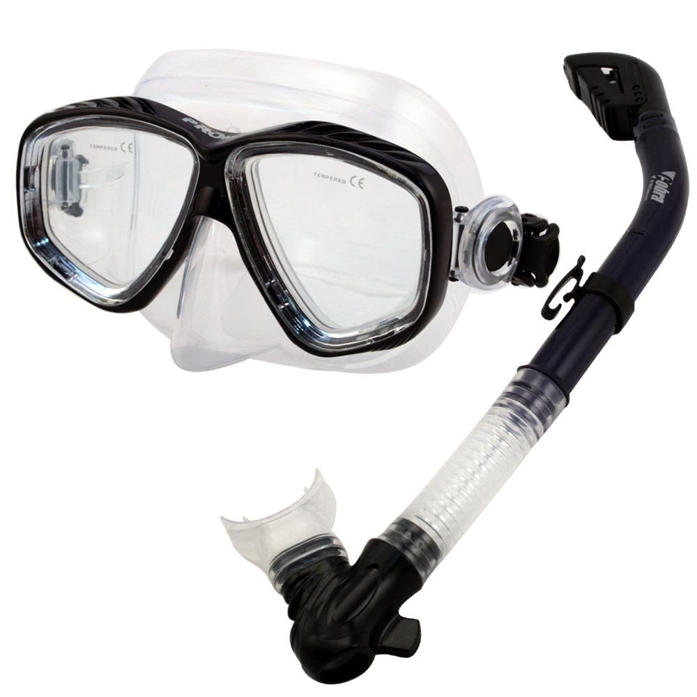 Snorkel Mask Set for Snorkeling Scuba Diving, Black by