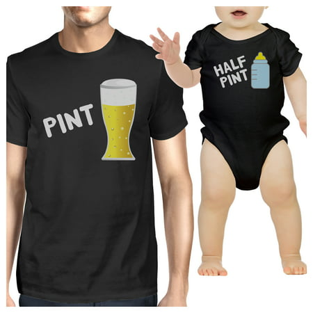 Beer Girl Outfits (Pint Beer Half Pint Milk Dad and Baby Matching Graphic Tee)